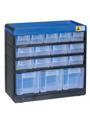 Schubladenmagazin, HxBxT 285x300x135mm, 16 Schublade(n), Gehäuse schwarz/blau